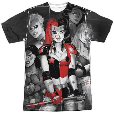 Trevco BM2596-ATPP-2 Batman Bad Girls-S by S Adult Poly Crew Sublimation T-Shirt, White - Medium - Batman Girl Villains
