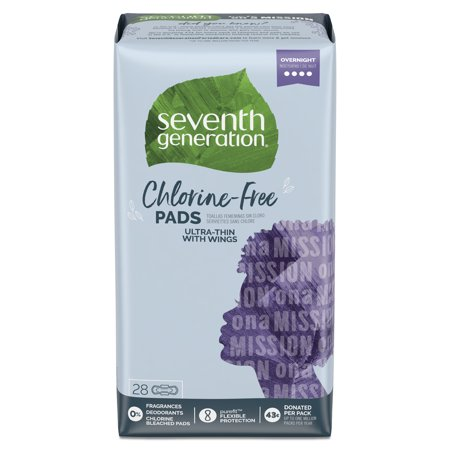 Seventh Generation Ultra Thin Pads, Overnight with Wings, Free & Clear, 28 -