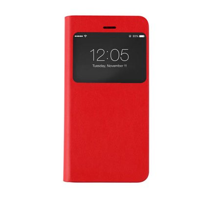 Iphone 6 6S Plus  Caseco Id Wallet Flip Case Folio Case  Smart Window View  Apple Wallet Case   Slim Glued Pc Case   Flip Cover With Card Holder Slots  Red