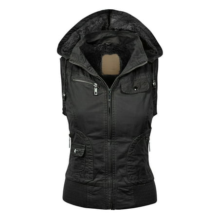 MBJ Womens Inner Fleece Zip Up Hoodie Vest
