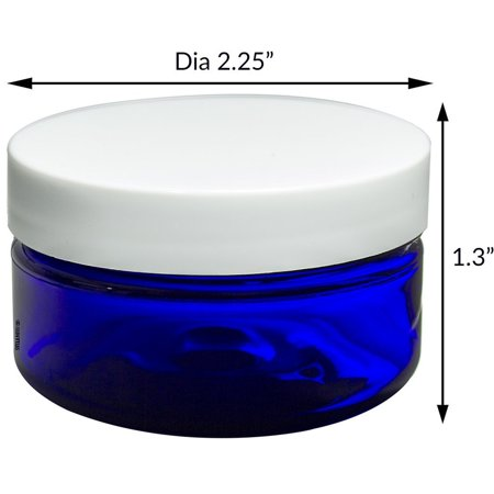 2 Piece Jar - Cobalt Blue PET Plastic Heavy Thick Wall Jar 6 piece Combo Set - 2 oz and 4 oz (3 of each size) with White Foam Lined Lids + Spatulas and Labels