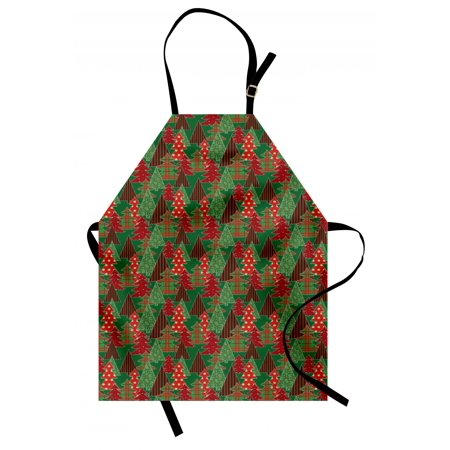 Christmas Apron Abstract Pines with Swirls Dots Lines Design Patchwork Style Print, Unisex Kitchen Bib Apron with Adjustable Neck for Cooking Baking Gardening, Dark Green Red Dark Coral, by Ambesonne