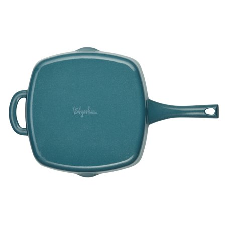 """Ayesha Curry Cast Iron Square Grill Pan with Pour Spouts, 10"""", Twilight Teal"""
