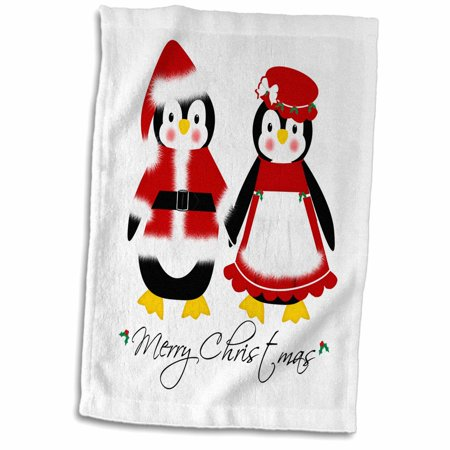 3dRose Cute Merry Christmas Mr and Mrs Santa Penguins - Towel, 15 by 22-inch (Mr And Mrs Santa Clause)
