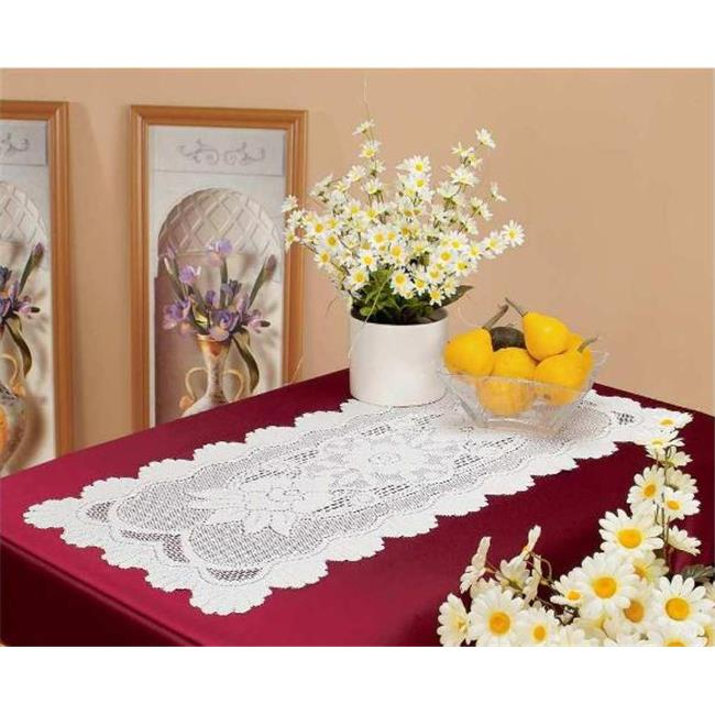 Tapestry Trading 558I1655 16 x 54 inch European Lace Table Runner, Ivory