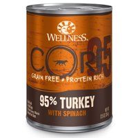 Wellness CORE 95% Natural Wet Grain Free Canned Dog Food, Turkey & Spinach,12.5-Ounce Can (Pack of 12)