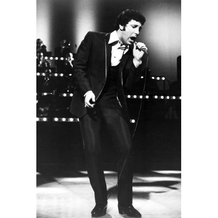 Tom Jones Posed in Black Suit With Microphone Print Wall Art By Movie Star News - Pope Suit