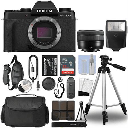 Fujifilm XT200 4K Mirrorless Digital Camera & 15-45mm Lens Black + 32GB Bundle