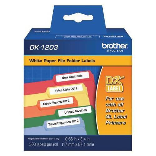 """Brother 5/8"""" x 3-3/8"""" Black/White Adhesive Label, Paper, DK1203"""
