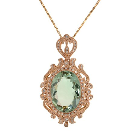 Green Amethyst, Diamond And 14K Rose Gold Pendant - Led Light Clothing