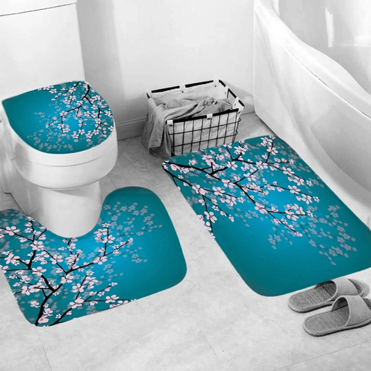 Plum Blossom Blue Print 71x71inch Waterproof Mildew Proof Shower Curtain Or Bathroom Door Mat Toilet Cover Mat Bath Rug Home Decor Walmart Canada