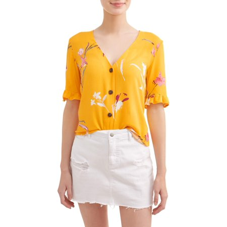 Juniors' Floral Printed Ruffle Trim Short Sleeve Blouse