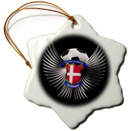 3dRose Denmark soccer ball with crest team football Danish, Snowflake Ornament, Porcelain, 3-inch