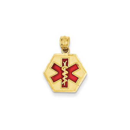 14k Yellow Gold Red Enameled Medic Id Pendant Charm Necklace Medical Gifts For Women For Her