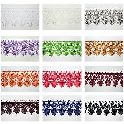 """1.75"""" White Black Ivory Brown Red 12 Colors Venice Lace Trim Guipure By Yardage"""
