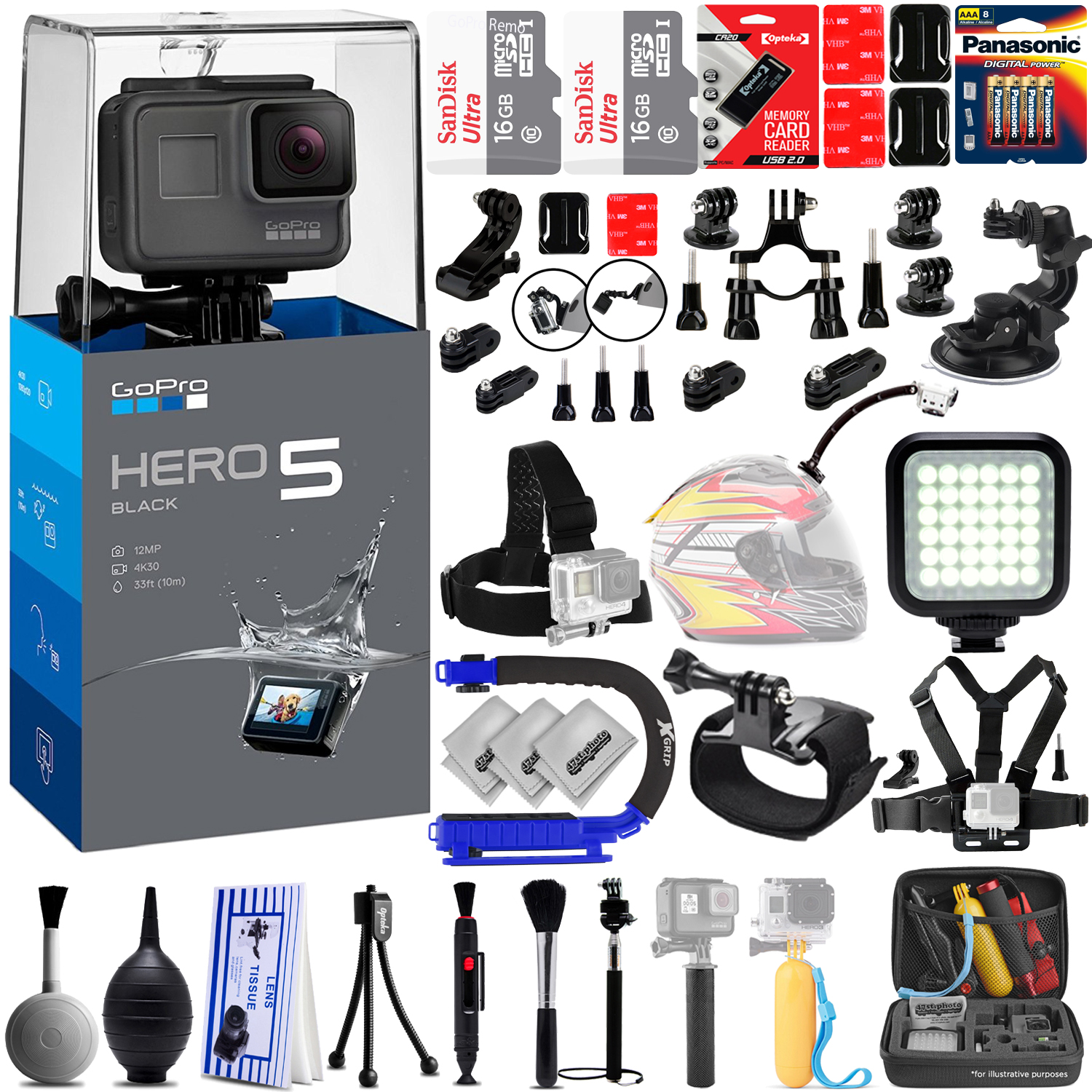 GoPro Hero 5 Hero5 4K Ultra HD Digital Camera w 32GB - 40PC Sports Action Bundle / 16GB x2 SD Card- Window Mount- Helmet Mount- Chest Mount- X-GRIP-  High Power Video Light & MUCH MORE