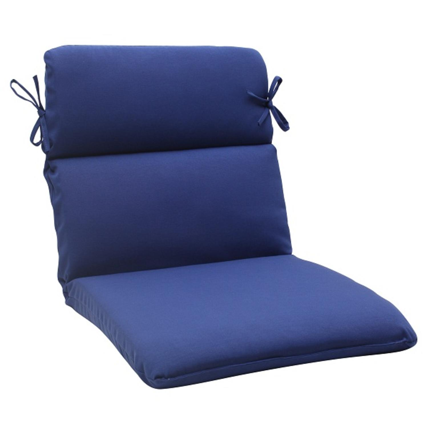 """40.5"""" Traditional Navy Blue Outdoor Patio Rounded Chair Cushion  with Ties"""