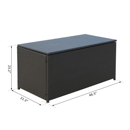 47x21x23inch Outdoor Garden Rattan Storage Box Wicker Home Furniture Indoor Storing Unit with Lid Coffee - image 2 of 7