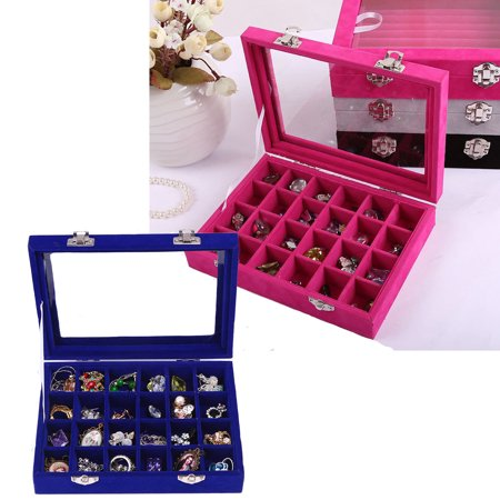 iMeshbean New 24 Grids Jewelry Earring Ring Display Box Organizer Holder Storage Case
