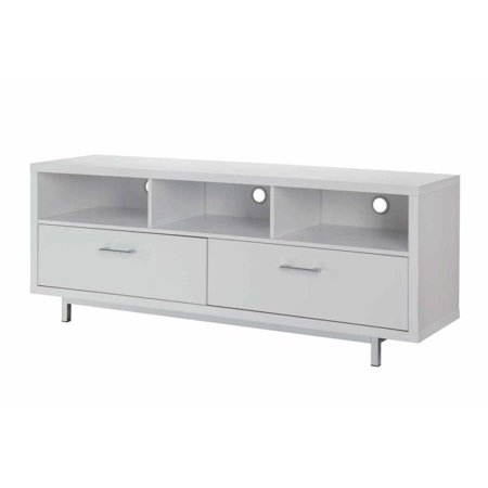 Simple Relax White Wall Units Low Media Tv Console With Metal Base