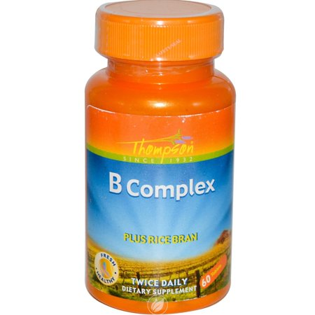 Thompson Nutritional Products Vitamin B Complex w/Rice Bran 60 Tablet, Pack of 2