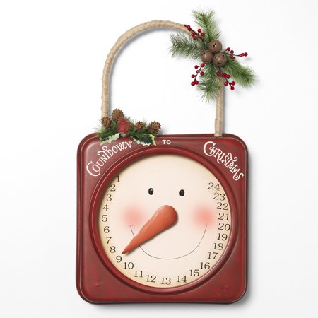 Tall Metal Hanging Snowman Face Christmas Countdown Calendar Holly Berries Rope (Christmas Countdown Sign)