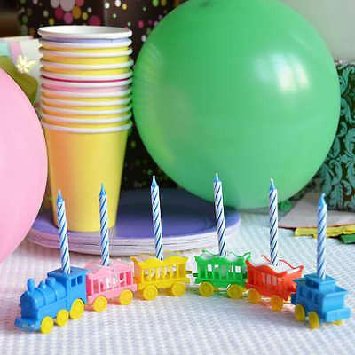 Vintage Animal Train Candle holder Set Cake Topper Birthday Shower Circus Carnival Blue -
