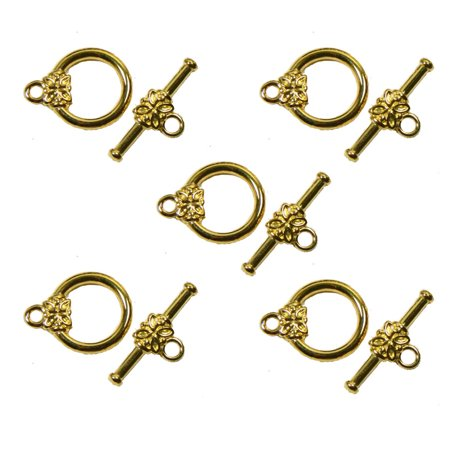 19 Gold Plated Brass Jewelry Toggle Clasps 14mm Flower Design Findings Plated Jewelry Findings