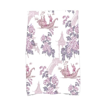 Simply Daisy, 16 x 25 inch, China Old, Floral Print Kitchen Towel, Purple ()