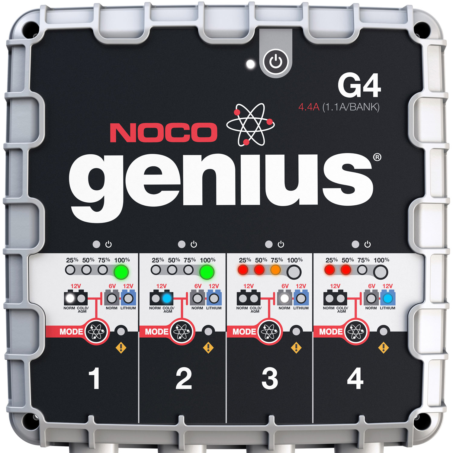 NOCO Genius G4 6V/12V 4.4 Amp 4-Bank UltraSafe Smart Battery Charger