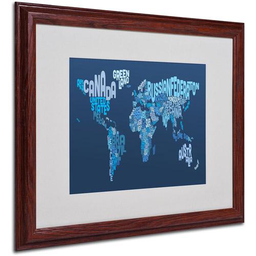 """Trademark Fine Art """"World Text Map 2"""" Matted Framed Art by Michael Tompsett"""