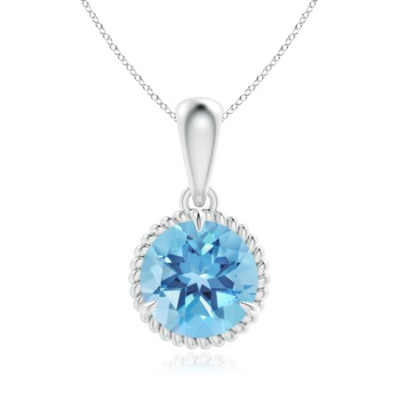 Mother's Day Jewelry - Rope-Framed Claw-Set Swiss Blue Topaz Solitaire Pendant in 14K White Gold (9mm Swiss Blue Topaz) - (Citrine Rope)