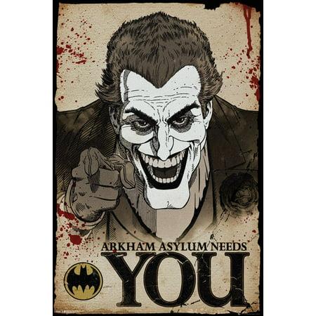 Batman   Comic   Gaming Poster   Print  The Joker   Arkham Asylum Needs You   Size  24   X 36