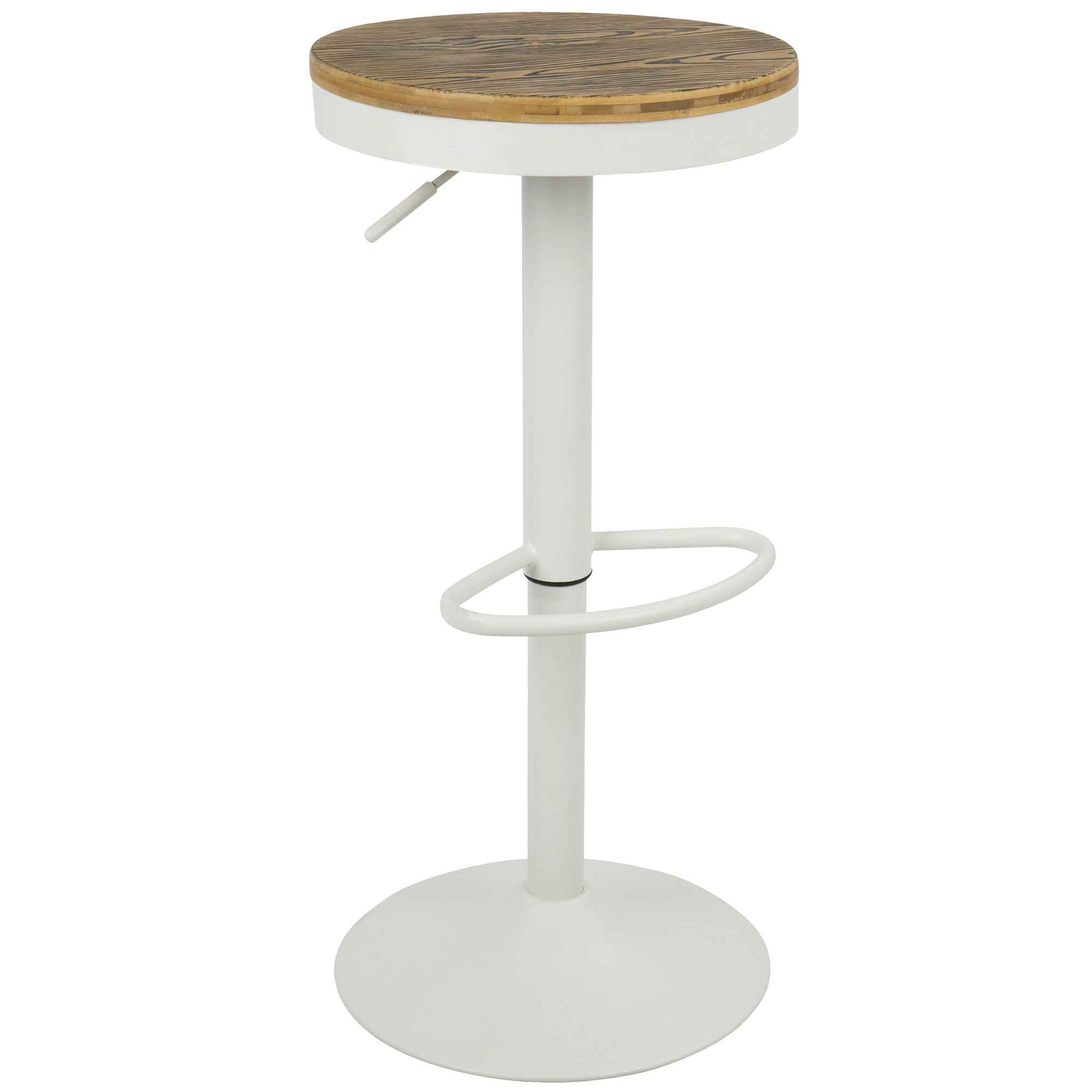 Dakota Industrial Adjustable Bar Stool with Swivel in White by Lumisource-Set of 2 by LumiSource