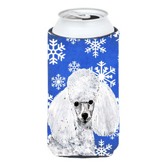 Carolines Treasures SC9773TBC White Toy Poodle Winter Snowflakes Tall Boy bottle sleeve Hugger - 22 To 24 Oz. - image 1 of 1