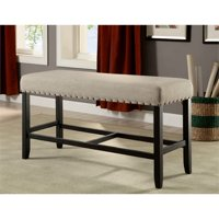 Furniture of America Stanton Fabric Counter Height Bench in Beige