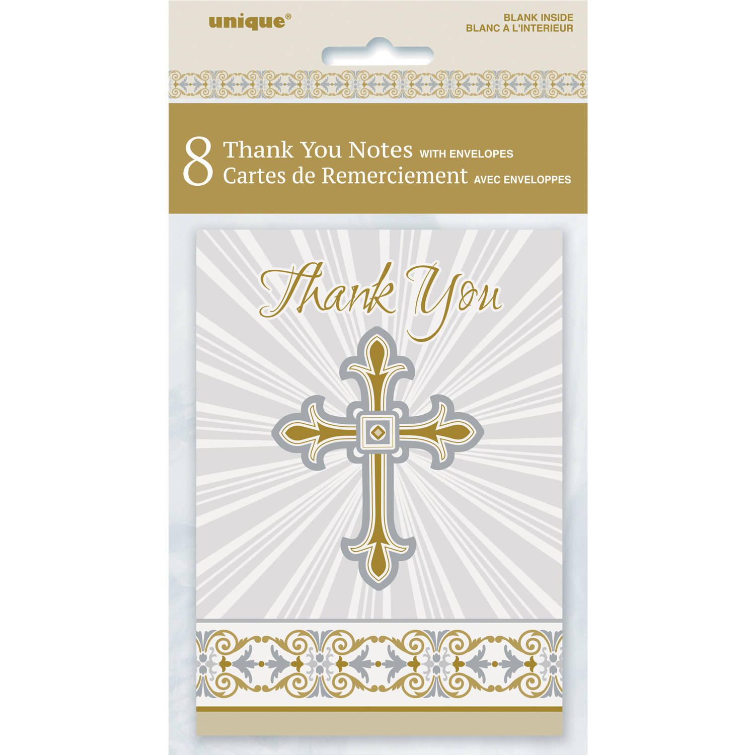 Radiant Cross Religious Thank You Cards, 5.5 x 4 in, Gold & Silver, 8ct