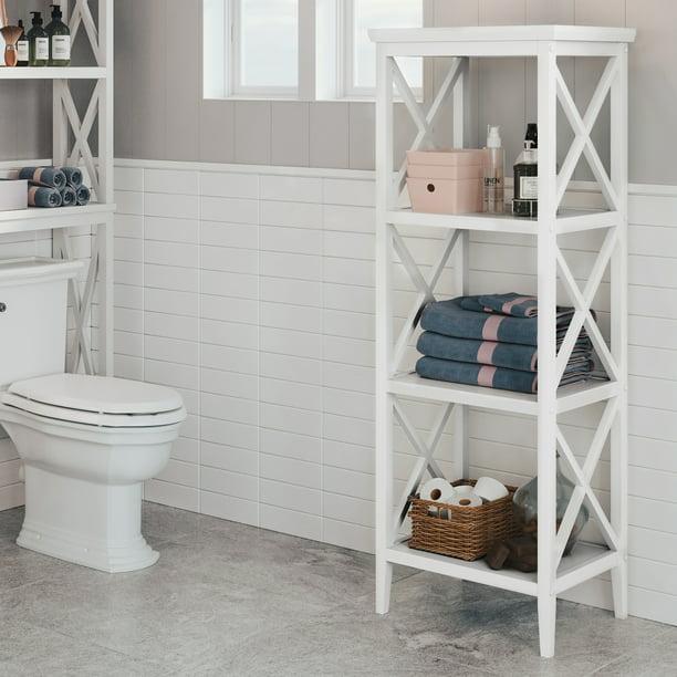 4 Shelf Storage Tower White, Bathroom Storage Tower