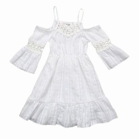 Toddler Kids Baby Girls Sweet Lotus Lace Cold Shoulder Strap Princess White Maxi Dress - Girls Lace Maxi Dress