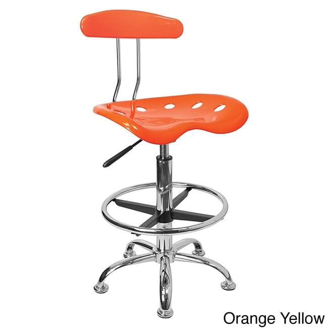 Offex Chrome Drafting Stool With Tractor Seat Walmart Com