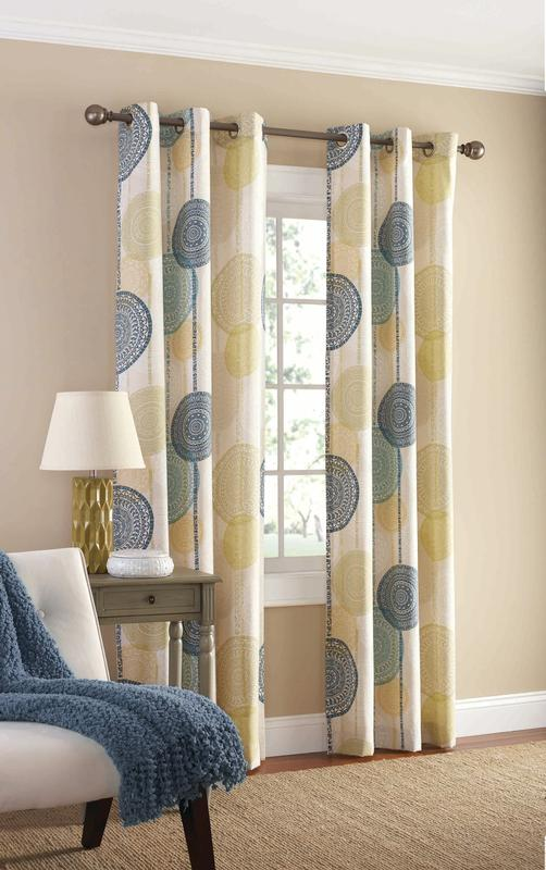 Mainstays Hanging Medallion Grommet Curtain Panels, Set Of 2, ...