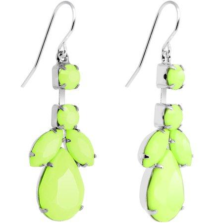 Pale Green Neon Leaf Vine Dangle Earrings