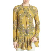 Free People NEW Gold Women's Size Small S Floral Print Tunic Top $108