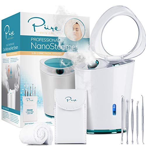 NanoSteamer PRO - Professional 4-in-1 Nano Ionic Facial Steamer for Spas - 30 Min Steam Time - Humidifier - Unclogs Pores - Blackheads - Spa Quality - Bonus 5 Piece Stainless Steel Skin