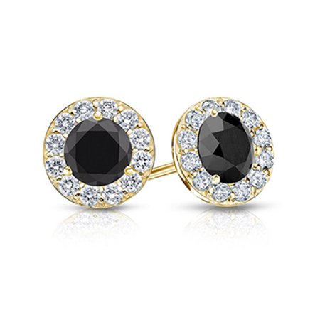 Black and White Diamond Halo Stud Earrings in 14K Yellow Gold 1.00.ct.tw - image 1 de 2