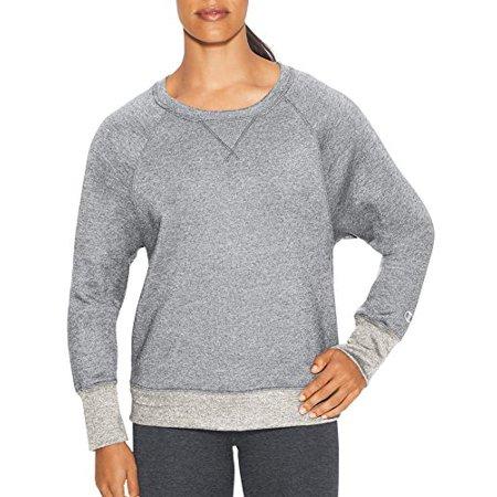 Champion Women's Fleece Boyfriend Crew Sweatshirt, Oxford Grey Heather/Oatmeal -