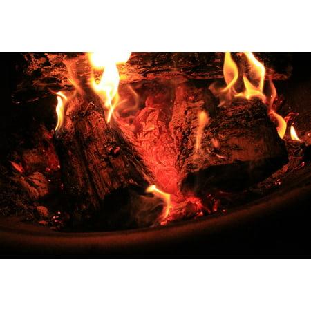 Peel N Stick Poster Of Bonfire Campfire Fire Pit Light Red Burn Fire