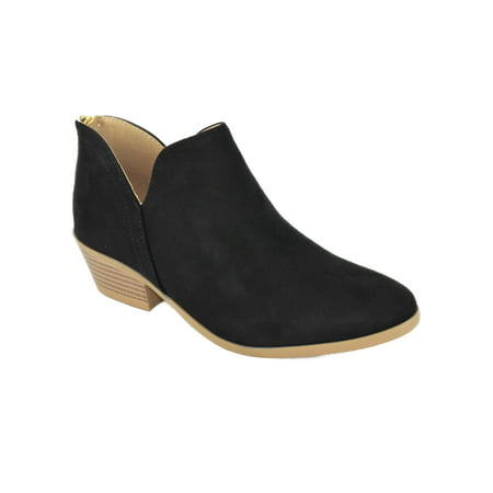 arrives search for official skilful manufacture Mafic Black Suede Booties Soda Women Ankle Boots Small Short Heel Back  Zipper Side Cutout