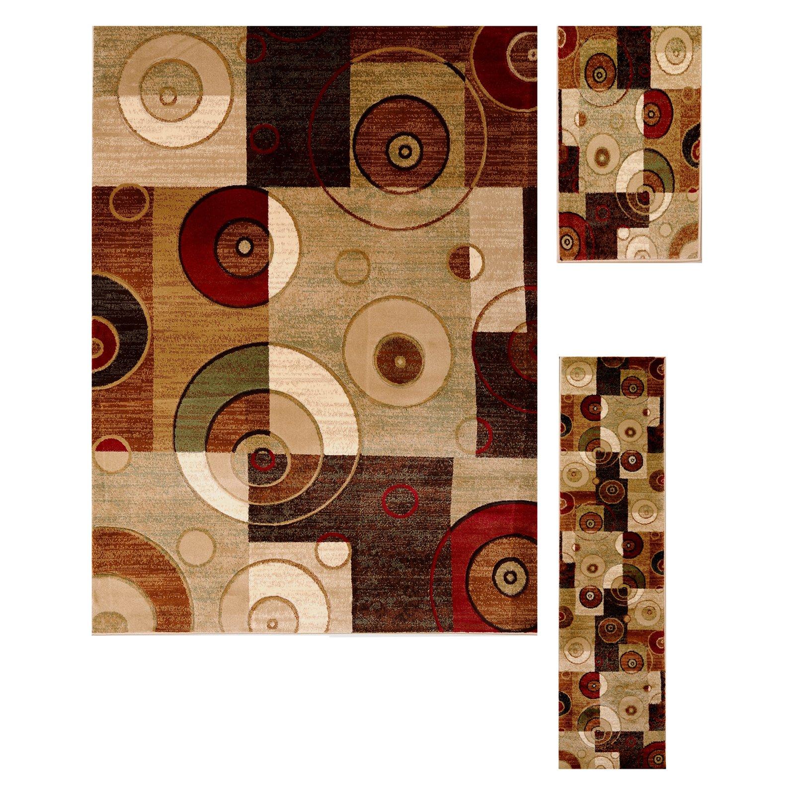 Home Dynamix Tribeca Collection Multi 3-Piece Area Rug Set