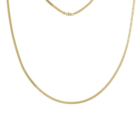 14k Yellow Gold 2.7mm Triple Herringbone Chain Necklace Lobster Lock Closure - Length: 16 to 20